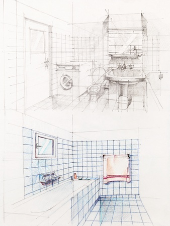 designed: interior hand drawn perspetive of an apartment bathroom Stock Photo