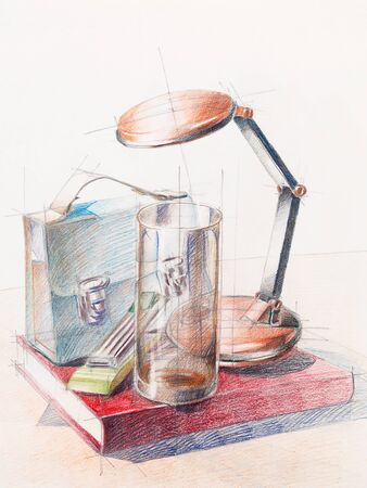artistic study of object shapes composition, drawn by hand photo