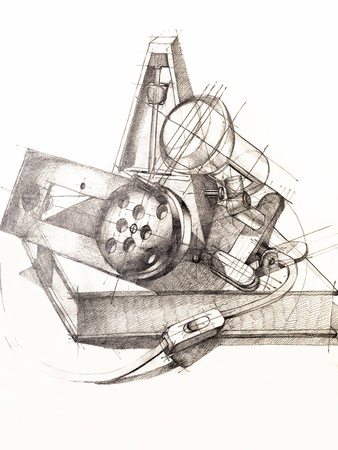 grafito: estudio artístico de la composición objeto figuras, dibujadas a mano Foto de archivo