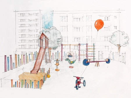 colored sketch perspective of outdoors childrens playground photo