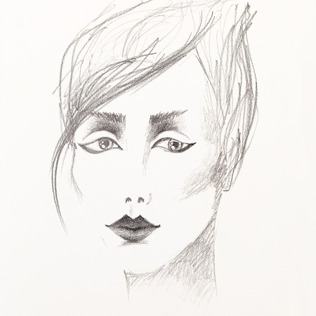 artistic black and white pencil sketch of a beautiful young woman photo