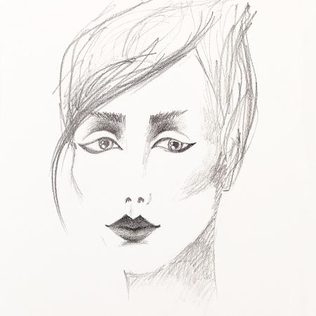 techniek: artistieke zwart-wit potlood schets van een mooie jonge vrouw