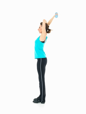 sexy, young woman showing fitness moves, on white background photo