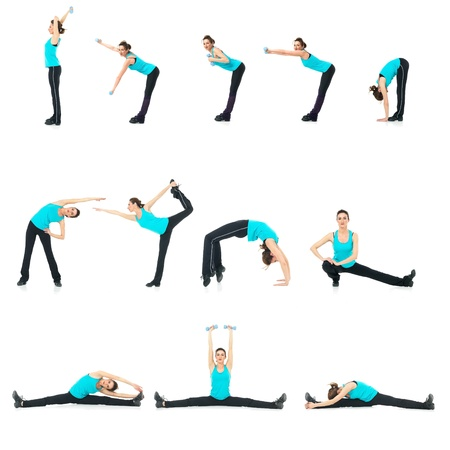 moves: sexy, young woman showing fitness moves, on white background