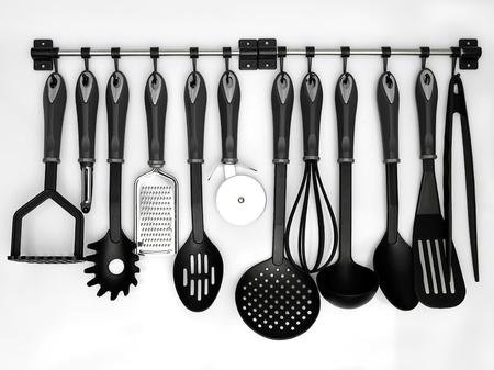 utencilios de cocina: utensilios de cocina colgados fondo blanco