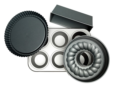 oven tray: different cake pans on white background