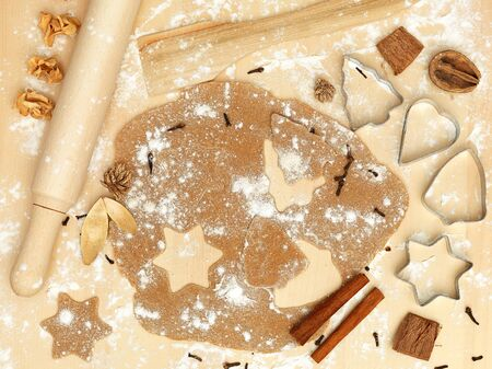 forms of metal rolling pin flour cinnamon xmas christmas sweets photo
