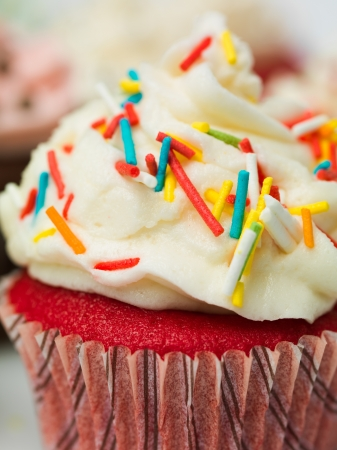 fairy cakes: macro detail muffin with colorful sprinkles Stock Photo