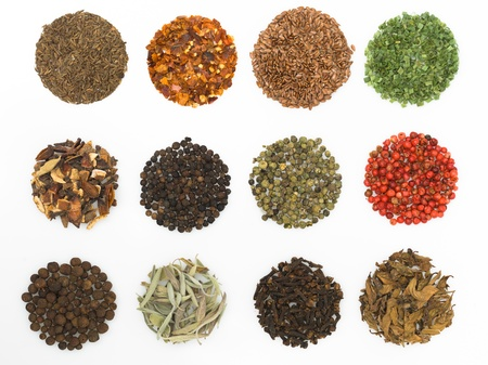 spice: round spices on white background macro close-up detail colorful Stock Photo