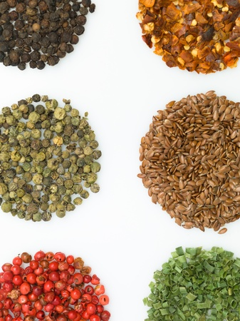 round spices on white background macro close-up detail colorful photo