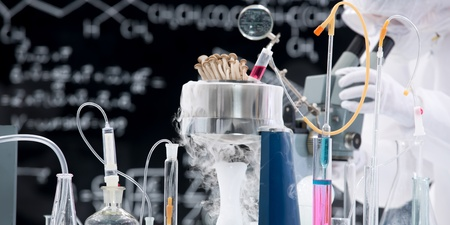 laboratory tools: close-up of laboratory tools and chemical reactions in a chemistry lab