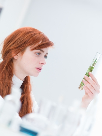 close-up of a woman in a chemistry lab analyzing a tube containing plants and water photo