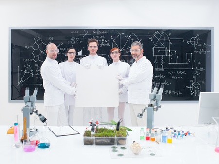 liquids: general-view of five confident people in a chemistry lab holding in hands an empty banner around lab tools , leafs and colorful liquids with a blackboard with formulas  on the background Stock Photo
