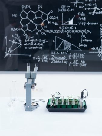 close-up of a lab worktable with seedlings and a microscope on it and a blackboard  with formulas on the background photo