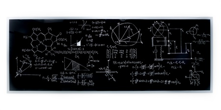 analytical: close-up of a chemistry laboratory blackboard with formulas on it
