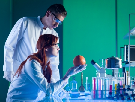 food research: side view of scientists looking at a colorful grapefruit in a laboratory Stock Photo
