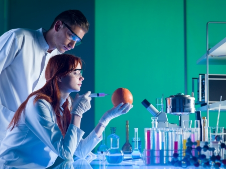 chemistry science: two scientists conducting an experiment on a grapefruit in a laboratory Stock Photo