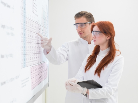 laboratory technician: close-up of two young caucasian scientists standing in front of a periodic table, with one of them pointing to some element, on white background