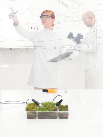 formulae: Female scientist monitoring a plant experiment standing checking a diagram and information on a glass interface with a tray of fresh green grass with two probes inserted in the foreground Stock Photo