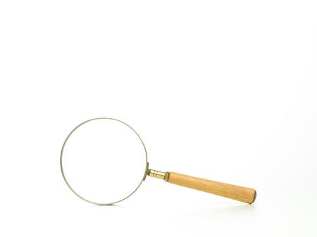 分離された白 backround の黒いハンドルに拡大鏡のクローズ アップ 写真素材 - 20700951