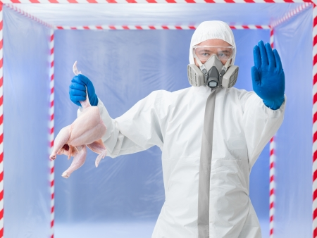 Biohazard technician in a full biohazard suit and breathing apparatus holding up a bird carcass and gesturing to stop warning of an outbreak of the bird flu virus photo