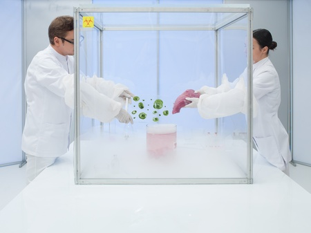 two scientists in the lab, a man and a woman, experimenting with liquid nitrogen, a chunk of raw meat and microorganism  in a sterile chamber Stock Photo