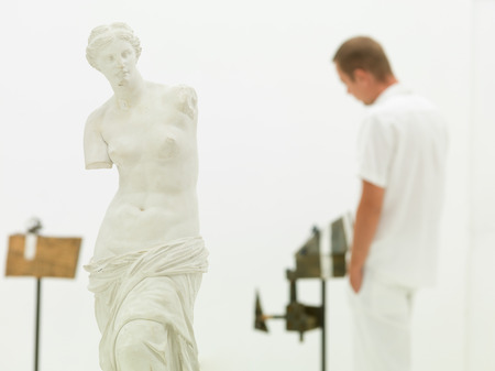 cropped view of replica of Venus de Milo statue with a man studying an artwork photo