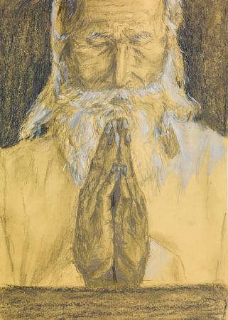 man praying: hand drawn illustration of an old man praying Stock Photo