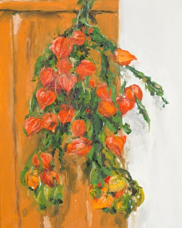 physalis: hand drawn watercolor painting of still life with orange physalis flowers