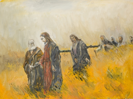 disciples: oil painting illustrating a religious scene, jesus christ and his disciples on a meadow