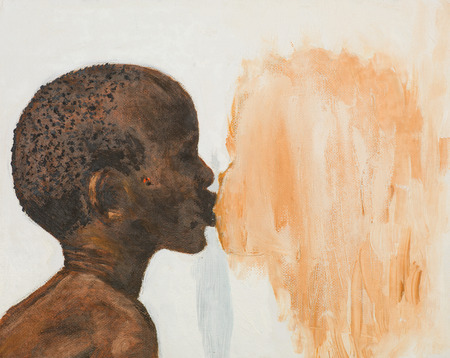 hand drawn acrylic painting of african boy kissing a girl photo