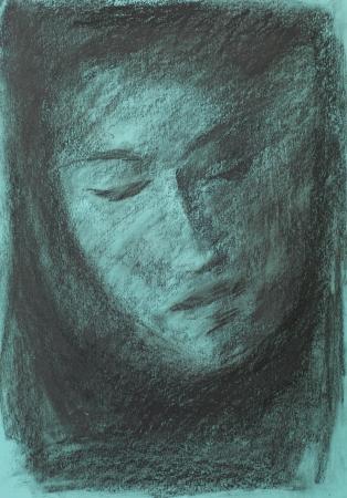 closed eye: hand drawn charcoal drawing illustrating a diffuse human portrait