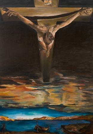 replica van een schilderij van Salvador Dali, Christus van de Heilige Johannes van het Kruis, olieverfschilderij