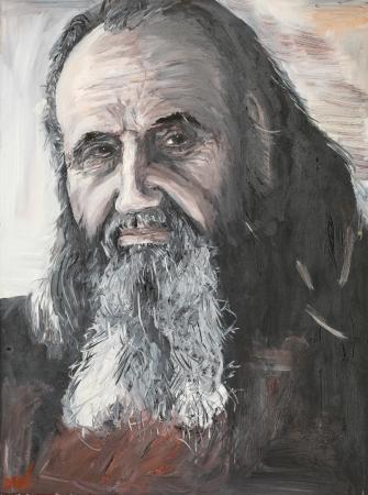 hombre pintando: pintura al óleo que muestra el retrato de un sacerdote