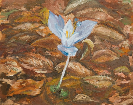 bloomed: oil painting illustrating a violet flower surounded by autumn colorful leaves