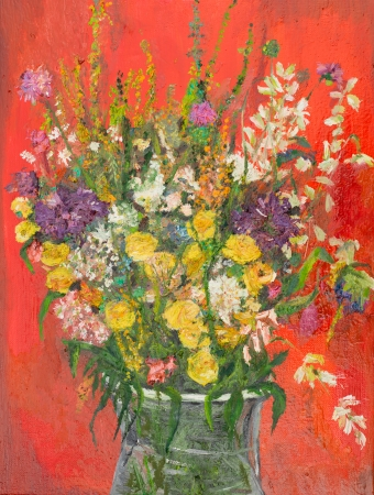 blossomed: oil painting illustrating a flower bouquet in a glass vase on red background