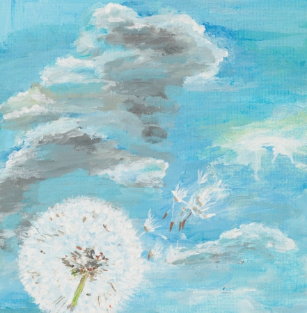 blowing dandelion: watercolor painting illustrating a dandelion on cloudy blue sky