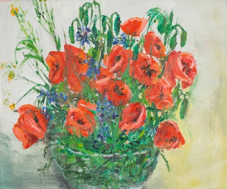 blossomed: oil painting illustrating a vibrant poppies bouquet in a glass vase