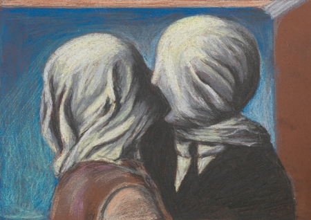 reproduction: pastel reproduction after the famous painting Lovers kiss by Magritte