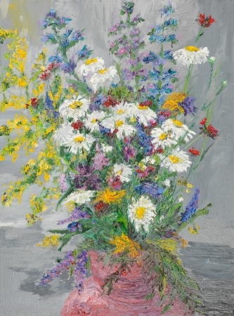 blossomed: oil painting illustrating colorful wild flowers bouquet in a vase on grey background Stock Photo