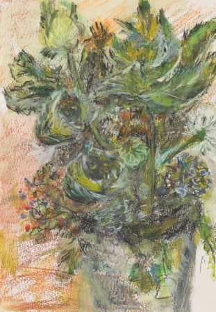 blossomed: hand drawn pastel illustration of wilf flowers in a vase