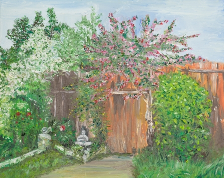 blossomed: oil painting illustrating a backyard with blossomed trees and vibrant colors