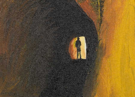 oil painting of mysteryous man in a tunnel photo