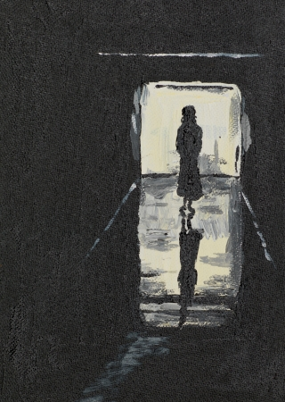 oil painting illustrating the silhoutte of a girl on a corridor
