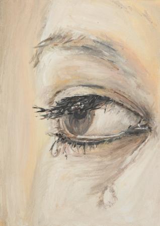 涙を浮かべて、女の眼を示す油絵