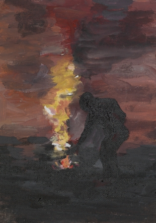 paiting: oil paiting illustrating a man lighting a fire outdoors Stock Photo