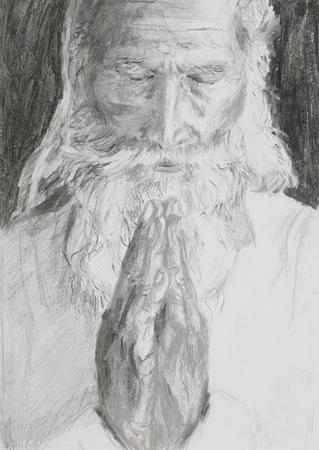 hand drawn illustration of an old man praying illustration