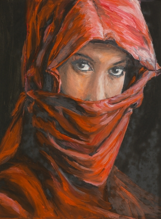 oil painting illustrating the portrait of an arabic woman wearing a re hijab photo