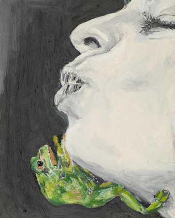 green frog climbing on the face of a woman waiting to be kissed, oil painting
