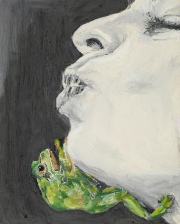 be kissed: rana verde arrampicata sul volto di una donna in attesa di essere baciato, pittura ad olio